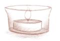 Een illustratie van een waxinelichtje